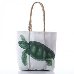 Sea Turtle Tote handcrafted from recycled sails on the working waterfront in Portland, Maine.