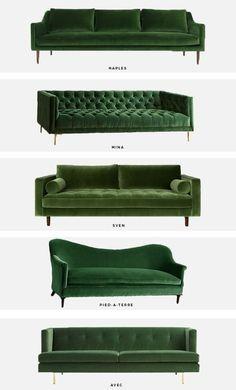 trend alert: the green velvet sofa   Mint Modern Home