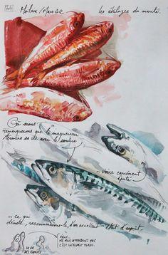 Une bretagne par les contours/ Morlaix Watercolor Fish, Watercolor Journal, Watercolor Sketch, Travel Sketchbook, Art Sketchbook, Fish Artwork, A Level Art, Sketch Painting, Sketchbook Inspiration