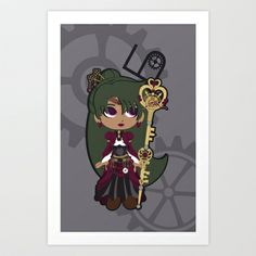 Steampunk Sailor Pluto - Sailor Moon Art Print by CaptainLaserBeam - $15.00