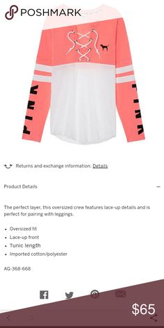 🌟NWT🌟 PINK VS OVERSIZED LACE UP VARSITY CREW Still in online packaging which is the tag.... SOLD OUT ONLINE! Details in Pic 2.... Feel free to ask any questions...✅Make an offer using OFFER button ONLY ❌Don't discuss prices in comments ❌No trades ✴Bundles encouraged✴ 🎀Check out my other PINK VS listings🎀 PINK Victoria's Secret Tops Sweatshirts & Hoodies