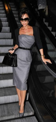Where can I get Victoria Beckham's gray strapless dress, black purse, black cardigan, gold watch, sunglasses, and gray suede pumps that she wore to LAX? Dress – Victoria Beckham Collection Giral Dress  Sweater – Azzedine Alaia Cropped Cardigan in Black  Watch – Rolex Day Date Presidential Wristwatch with Champagne Stick Dial  Sunglasses – Cutler and Gross 0811 Sunglasses  Shoes – Yves Saint Laurent Tribtoo Suede Pumps  Purse – Hermes Birkin Bag in Black Lizard