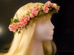 Flower Crown Head Wreath Pink Rose Ivy Vine for Weddings Bride Flower Girl Floral Headband Woodland Boho Fairy Halo Festival Circlet Garland