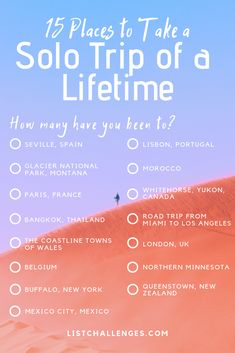 15 Places to Take a Solo Trip of a Lifetime ~ How many have you been to solo? The average person has experienced of these places solo. See how you rank. Take the solotravel challenge! Travel Checklist, Travel List, Travel Goals, Cruise Travel, Travel Bag, Traveling By Yourself, Solo Travel Quotes, Photos Voyages, Beautiful Places To Travel