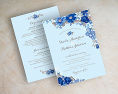 Blue botanical floral wedding invitation, antique flowers, botanical garden themed wedding invitations, garden wedding invites, cornflower blue, royal blue, sapphire blue, cobalt blue, baby blue, light blue, charcoal gray, silver, Taylor. As low as $1.63 ea. www.appleberryink.com