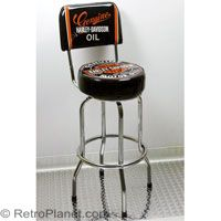 H-D Oil Can Bar Stool with Backrest #harley  http://www.retroplanet.com/PROD/31777