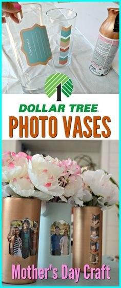 Grab a $1 glass vase and adhesive labels from Dollar Tree to make this easy photo vase for Mother's Day!