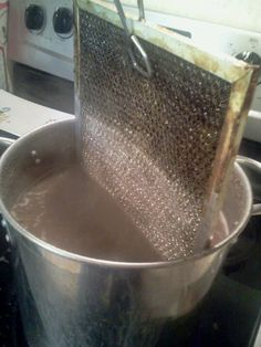 1/2 cup baking soda in boiling water to clean vent hood filter! Unreal. Saw this pinterest and tried it. Really works!!