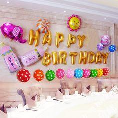 Happy Birthday Aluminum Foil Membrane Balloons 1 Set Party Decoration…