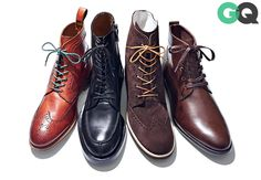Like Dress Shoes—But with Bonus Style Points | There's now a boot analogue for wingtips, cap-toes, and all other dress shoes. When you're standing, co-workers will think they're just shoes. Cross your legs in a meeting and folks will catch how advanced your style is. // From left: Tommy Hilfiger, $249 / Gucci, $950 / Del Toro, $340 / Banana Republic, $168
