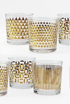 Metallic Print Glassware