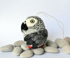 African Grey Parrot needle felted bird wool ornament ball
