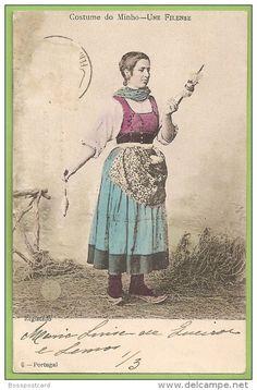 Braga - Viana do Castelo - Costume do Minho - Une Filense (Edição F. A. Martins)