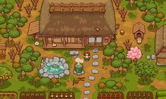 Game About Japanese Rural Life Gets Adorable Puppies - myPotatoGames Pixel Rpg Games, Farm Games, Game Of The Day, Pixel Design, Japanese Games, Game Start, Environment Concept Art, Video Game Art, Indie Games