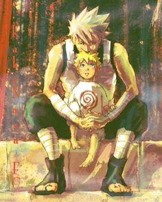 Uncle Kakashi and his baby friend Naruto :3