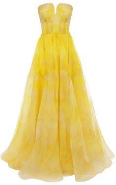 Poppy Print Organza Bustier Dress - Lyst