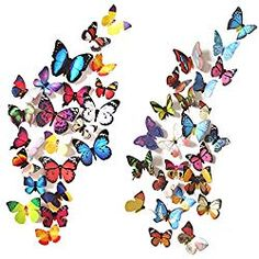 Heansun 80 PCS Wall Decal Butterfly, Wall Sticker Decals for Room Home Nursery Decor *** Find out more about the great product at the image link. (This is an affiliate link) Baby Wall Stickers, 3d Mirror Wall Stickers, Kids Wall Decals, Wall Stickers Murals, Diy Stickers, Wall Decal Sticker, Wall Murals, Diy Butterfly, Butterfly Decorations