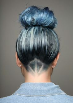 Blue hair undercut
