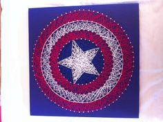 Captain America Shield String Art by Kristiestringart on Etsy, $20.00