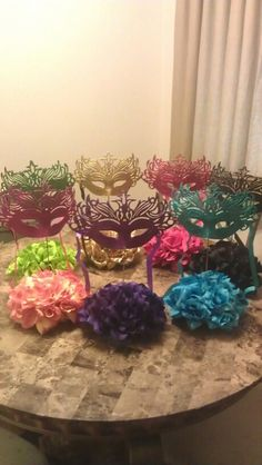 Centerpieces for my daughter's Midnight Masquerade Champagne Party... I had fun making them!