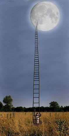 Picture Prompts for Writing! Tell me about who made this ladder and why he/she wants to go to the moon?