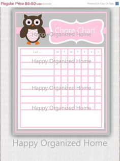25 OFF SALE Instant Download  Chore Chart by HappyOrganizedHome, $3.75