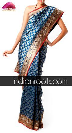 Blue silk handwoven saree with traditional Kundan work by Ram Chandra Krishan Chandra.