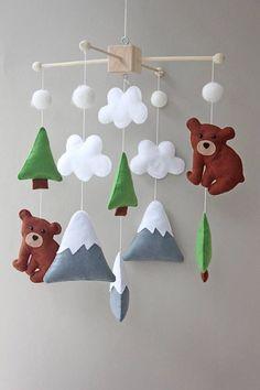 mountain mobile - woodland mobile - bear mobile - woodland nursery decor - adventure nursery decor - home decor #affiliate