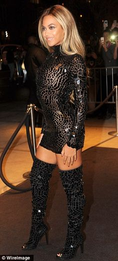 cf52887eac7a7 Beyonce dazzles in risque dress and boots at album release party