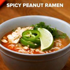 Spicy Peanut Ramen Recipe by Tasty Ramen Recipes, Noodle Recipes, Asian Recipes, Cooking Recipes, Ethnic Recipes, Peanut Butter Ramen, Sesame Peanut Noodles, Curry Ramen, Homemade Ramen