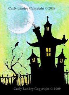 Spooky Halloween Haunted House Art Print - $5.00