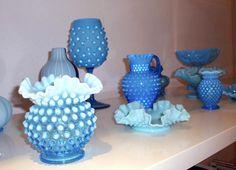 Blue Hobnail glass.