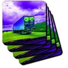 A bright colored truck driving down the highway in green and purple Coaster