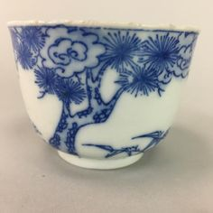 Japanese Yellow Porcelain Teacup Vtg Yunomi Plum Blossom Green Tea Sencha PT239