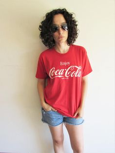 Vintage Soft Thin Red Enjoy Coca Cola T Shirt by FunkyOldSoul