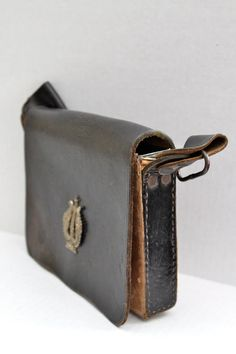 vintage Italian Police steel leather covered bag by RedTuTuRetro, $55.00