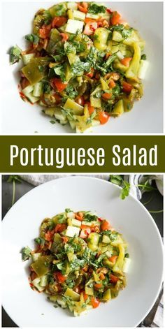 Roasted peppers, tomatoes and cucumbers make up the delicious base of this Portuguese Salad recipe, simply dressed with cilantro and red wine vinaigrette. Top Recipes, Side Dish Recipes, Brunch Recipes, Salad Recipes, Vegan Recipes, Jiffy Recipes, Banting Recipes, Cocktail Recipes, Easy Recipes