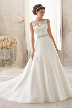 2014 Bateau Lace Bodice A Line Wedding Dress With Chiffon Skirt A Line Beaded Chapel Train