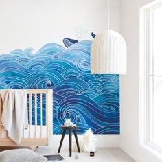 """""""seas the day"""" kids' removable wall mural by Stardust Design Studio only available from Minted. Bold, blue ocean waves with whale. Easy to install, easy to remove. Sea Murals, Ocean Mural, Nursery Wall Murals, Kids Wall Murals, Custom Wall Murals, Removable Wall Murals, Murals For Kids, Door Murals, Bedroom Murals"""