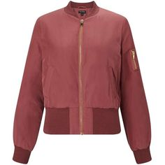Miss Selfridge Rose Bomber Jacket ($35) ❤ liked on Polyvore featuring outerwear, jackets, rose pink, red flight jacket, miss selfridge, flight jacket, blouson jacket and bomber style jacket