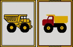 Dump Truck Yellow Or Red Yellow Afghan Crochet Knit Cross Stitch Pattern Graph