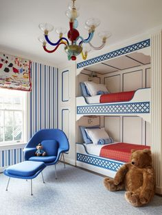 The Murano glass chandelier, color palette, and attention to detail in this bunk room are exquisite! Dream Bedroom, Kids Bedroom, Childrens Bedroom, Casa Milano, Biscuit Home, Bunk Rooms, Bunk Beds, Bedrooms, Style Deco