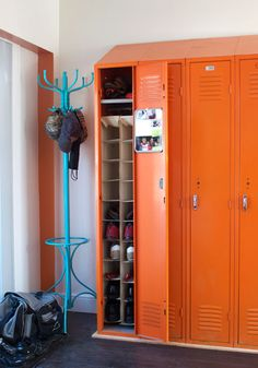 Lockers with shoe storage inside - i want to do this!! how cool    .....never thought of PAINTING old locker. Perfect for my boys room :)