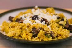 Scrambled Eggs with Mushrooms and Feta; the secret is getting just enough mushroom juice to make the eggs taste amazing without letting them turn brown! [from Kalyn's Kitchen] #EasyBreakfast #Eggs #LowCarb #GlutenFree #SouthBeachDiet
