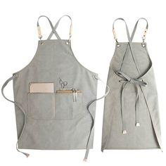 Khaki Gray Canvas Apron Crossback Straps - Little Tailor Studio Waiter Uniform, Long Bib, Brown Canvas, Blue Canvas, Waxed Canvas, Work Aprons, Bib Apron, Apron Designs, Cheap Aprons