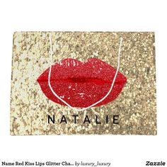 Name Red Kiss Lips Glitter Champagne Gold Glam Lar Large Gift Bag Custom Gift Bags, Customized Gifts, Glitter Home Decor, Large Gift Bags, Artwork Design, Branding Design, Champagne, Unique Gifts, Create Yourself