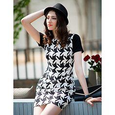 Black&White Houndstooth Short Sleeve Dress $25 @ LightInTheBox