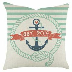 Bring nautical charm to your living room or den with this eye-catching denim pillow, showcasing an anchor motif and personalized numerical accent.   Product: PillowConstruction Material: Cotton cover Color: Blue and redFeatures:  Handmade by TheWatsonShopZipper enclosureMade in the USAFour number year personalization  Cleaning and Care: Dry clean only