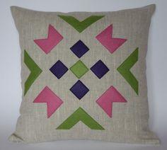 Items similar to Linen eco felt pink, green, violet pillow cover. Handmade decorative pillow throw zipper contemporary ethnic geometric cm on Etsy Pink And Green, Decorative Pillows, Ethnic, Applique, Pillow Covers, Felt, Cushions, Pillow Ideas, Throw Pillows