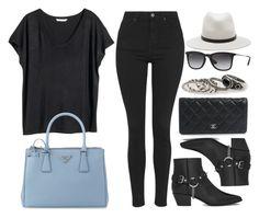 """Style #9038"" by vany-alvarado ❤ liked on Polyvore featuring H&M, Topshop, rag & bone, Yves Saint Laurent, Prada, Ray-Ban, Chanel and MANGO"